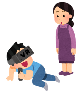 VRで遊ぶのを母親に見られる